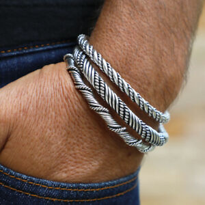 NEW Viking Bracelets Solid 925 Sterling Silver Stackable Men's Cuff VY Jewelry