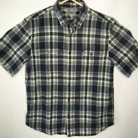 Carhartt Mens Short Sleeve Button Up Relaxed Fit Work Shirt Blue Plaid Large