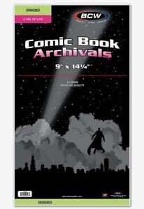 Pack of 25 Bags BCW Graded Comic Mylar - 2 Mil. Heavy Duty 9 x 14 1/4 (#CS17)