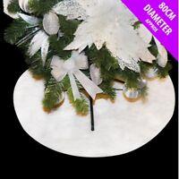 White Glitter Snow Tree Skirt Christmas Decoration Scene 80cm Place Around Base