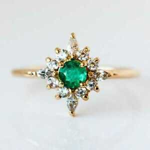 14 K Gold Plated Round Cut Natural Emerald Ring Engagement/Wedding ring For Her