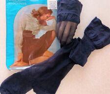 3 Pair Navy Blue Super Sheer Super Stretch Nylon Stockings 8.5-11