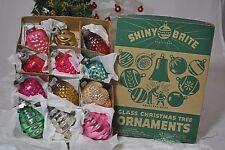 "12 Vintage Shiny Brite Glass ORNAMENTS Bells Grapes Swirls Shapes Lanterns 2"""