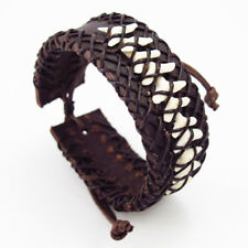 Real Shark Tooth Teeth Fossil Braided Dark Brown Leather Bracelet Wristband NEW
