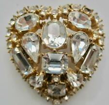 NEAR MINT VINTAGE CORO CRAFT SILVER LARGE CRYSTAL RHINESTONE HEART PIN BROOCH