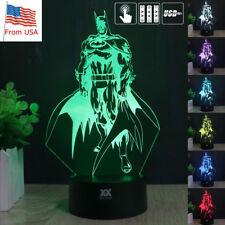 Super Hero Batman 3D Acrylic LED Night light Touch Desk Lamp 7 Color BatteryGift