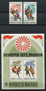 Malediven Maldive 1972 Olympiade Olympics München 430-431 Block 15 MNH