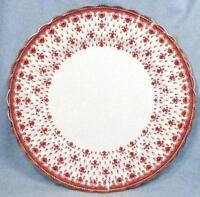 Spode Fleur de Lys Dinner Plate Y7481 Red Bone China Gold Trim Lis Scalloped