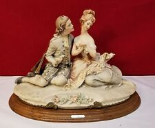 Rare Capodimonte Figurine The Lovers Signed by Bruno Merli 1981 Wood Base 15""