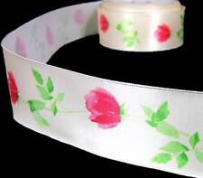 "5 Yds Rose Roses Cream Satin Wired Ribbon 1 1/2""W"