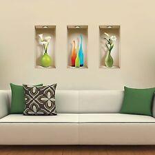 Set 3 Art Wall Stickers 3D Picture Removable Home Decor Vinyl Tile Decals DIY