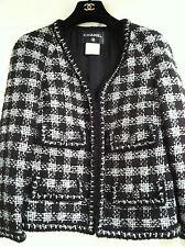 Chanel 11A NEW TAGS Lesage Black Silver Jacket Gripoix button Zipper FR42