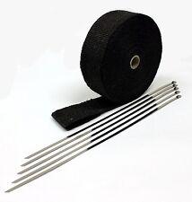 "Black Header Wrap -Fiberglass 50 Feet x 2"" wide with 5 Free Metal Zip Ties"