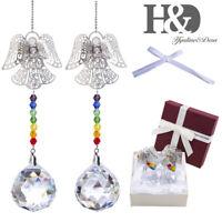 2 Rainbow Suncatcher Crystal Ball Lamp Prisms Feng Shui Wedding Angel Pendants