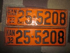 Kansas 32 1932 LICENSE PLATE Plates MATCHING NUMBER PAIR  FORD CHEVY DODGE LOCZ1