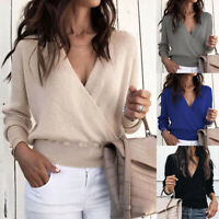 Womens V Neck Knitted Jumper Warp Tops Ladies Long Sleeve Loose Sweater Blouse