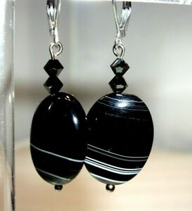 STUNNING BANDED AGATE EARRINGS WITH SURGICAL STEEL LEVERBACKS