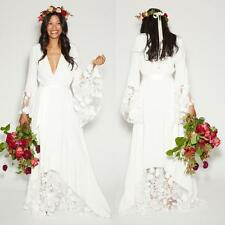 Summer Beach BOHO Wedding Dress Bridal Gown Hippie Style With Lace Long Sleeve