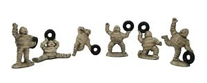 Michelin Man 6-Piece Figurine Set Cast Iron With Painted Antique Finish