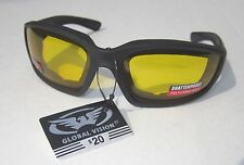 Motorcycle Glasses Sunglasses Yellow Lens Padded Night Time ATV 4 Wheeler Harley