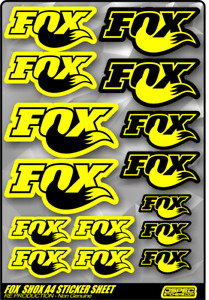 FOX SHOX RACING A4 STICKER SHEET (Re-production) FOX SHOCKS MTB BIKE CYCLING