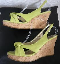 RIVA LIME GREEN LEATHER SANDALS 40  WITH CORK WEDGE HEELS