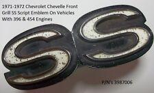1971-1972 Chevy Chevelle SS 396 & 454 Grille Script Emblem P/N's 3987006 O.E.M.
