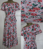NEW M&S RRP £45 Floral Bardot Jumpsuit Wide Leg Culotte Party Pink Green 6-18