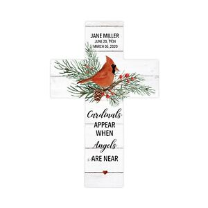 """Personalized Red Cardinal Memorial Bereavement 14"""" Wall Cross Loss of Loved One"""