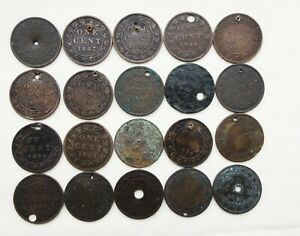 Lot of 20 Canadian Large Cents