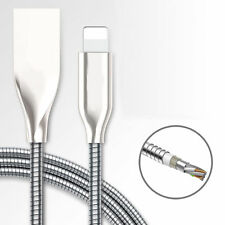 Steel Metal Lightning USB Charging Cable Charger Wire Cord for iPhone 7 6s + 5s