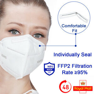 FFP2 N95 FACE MASKS 5-LAYER FILTERS POLLEN DUST PROTECTION NON MEDICAL SURGICAL