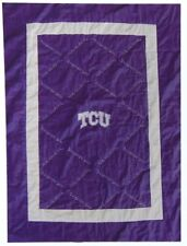 """NEW! TCU Horned Frogs Embroidered Quilt - Blanket  48"""" x 62"""" - Purple & White"""