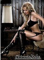 "Black Boots Thigh Hi Side Lace-up Zipper 5"" Heel Larger Sizes 5-14 511-FEROCIOUS"