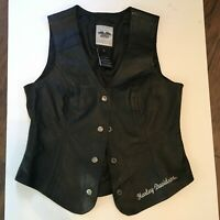 Women's Harley Davidson Patches and Pins Black Leather Vest Small Motorcycle