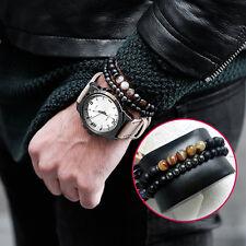 2Pcs Lucky Gem Fashion Natural Matte Agate Prayer Beads Bracelet For Mens Women
