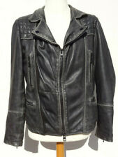 All Saints Leather Jacket Cargo Biker Black Charcoal XS 34 36 MSC