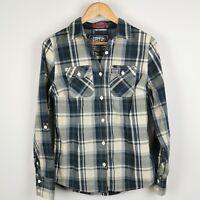~ Superdry ~ Womens ~ Blue & White Check ~ Roll Sleeve Shirt ~ Medium ~ UK 12 ~