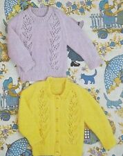 """Baby Knitting Pattern Child Lacy Jumper &  Cardigan Chest 18-22"""" DK R13096"""