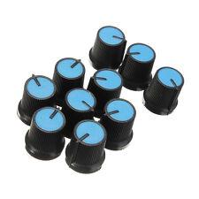 10PCS Black Knob Blue Face Plastic for Rotary Taper Potentiometer Hole 6mm U8