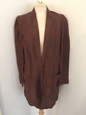 Barbara Bui Paris Long Linen Silk Brown Long Jacket Oversize Fit Size M