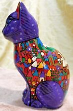 VINTAGE CAT POTTERY HAND PAINTED MEXICAN FOLK ART