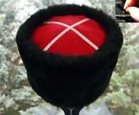 Black 55-59cm Adjustable Fur Hat Mouton Papakha Kubanka Russian Cossack Hat #900