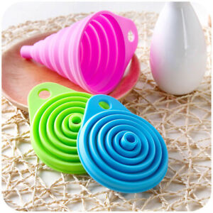 Silicone Collapsible Funnel Portable Flexible Foldable Kitchen Travel Funnel