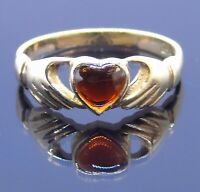 Vintage love heart in hands (Claddagh style) 9 carat gold red garnet ring Size S