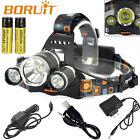 BORUiT RJ-5000 Headlamp 13000LM XM-L T6+2R5 LED Headlight+AC/Car/USB Charger Kit