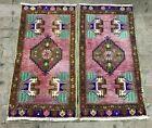 Purple Twin Turkish Rug, Handmade Wool Welcome Rug, Doormat, Small Rug 1.5x3.1ft
