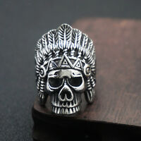 Punk Carved Skull Head Ring Men's Stainless Steel Biker Ring Jewelry US7-US13