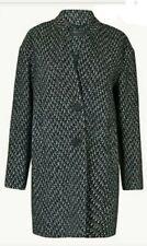 Marks & Spencer Herringbone Cocoon Wool Coat Size 10 Winter Jacket