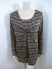Coldwater Creek Long Sleeve Lace Stretch Woman Top Blouse Size L